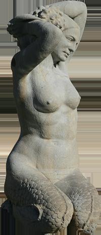 Estátua de sereia da fonte luminosa (Arminda).