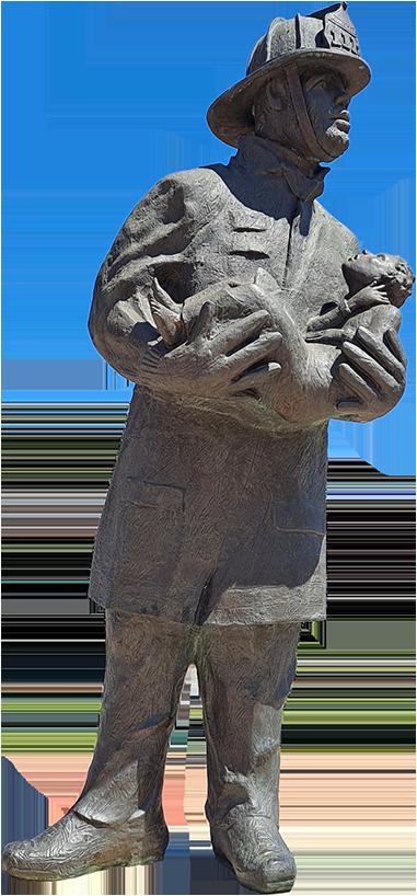 O novo monumento aos bombeiros é lançado do Lusitânia.