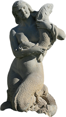 Estátua de sereia da fonte luminosa (Camila).