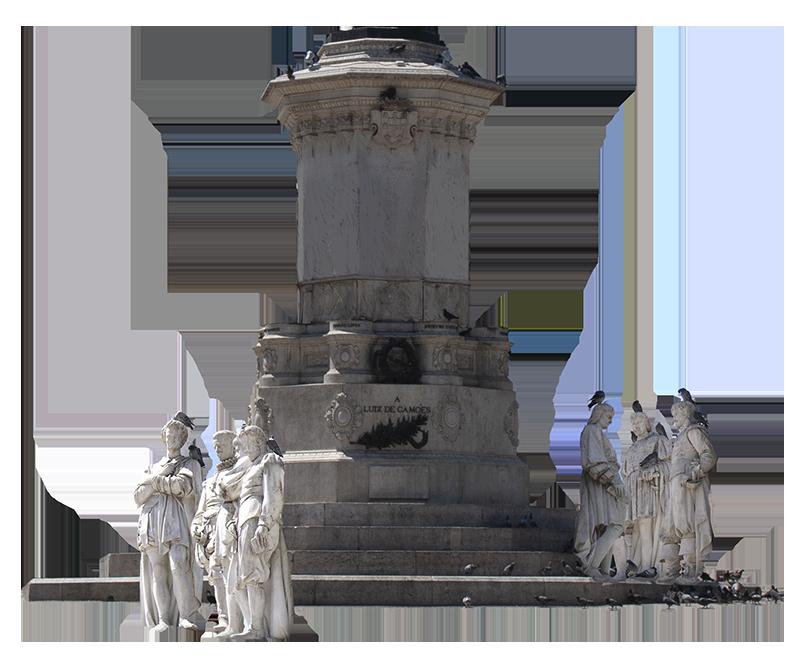 Pedestal da estátua de Camões vazio, as estátuas circundantes no chão, em grupos.