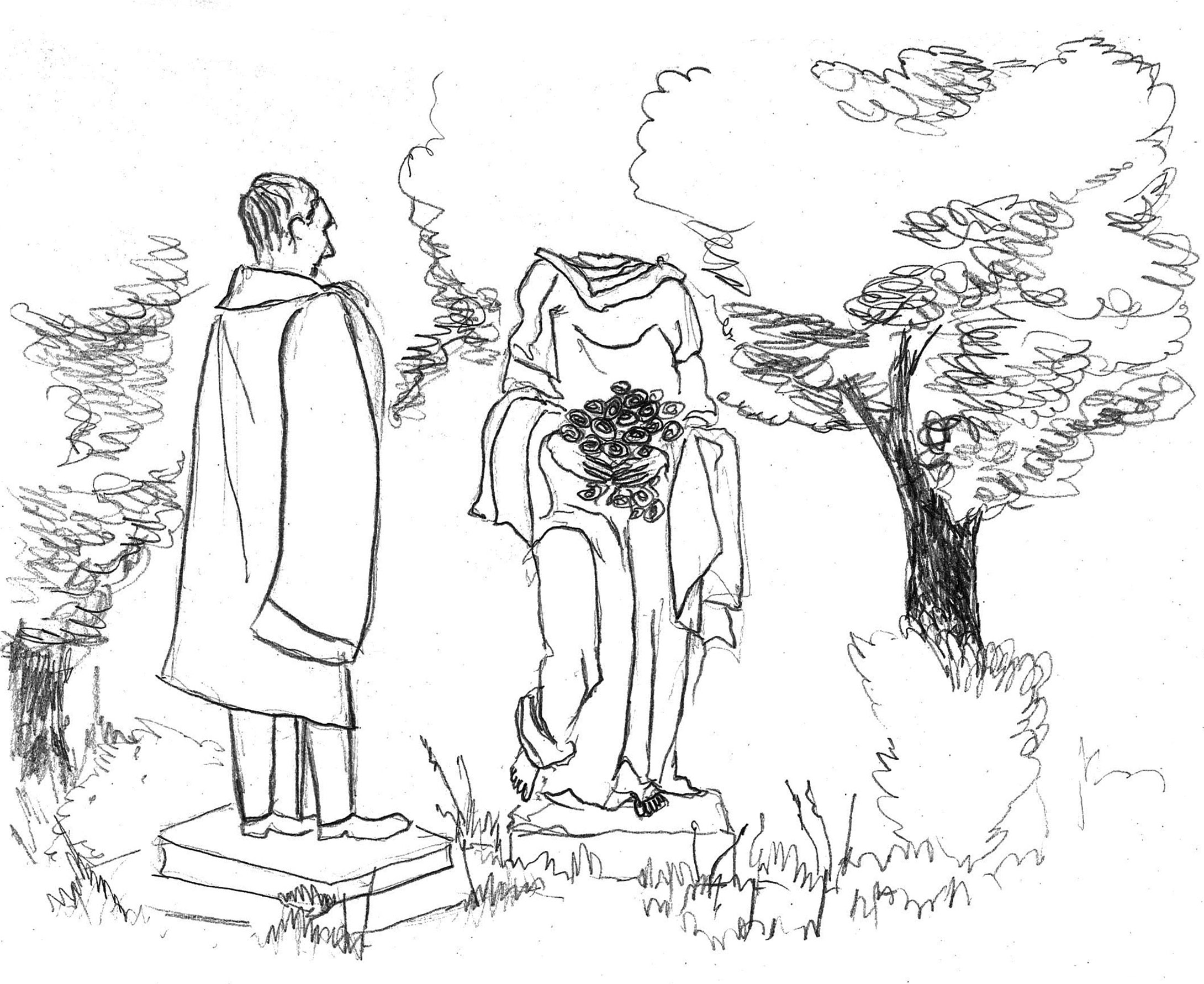 Desenho de Carmona num jardim junto com estátua feminina decapitada.