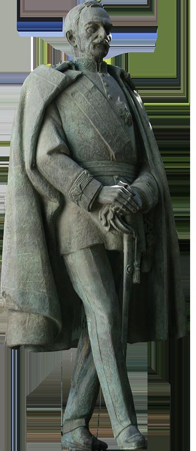 Estátua de Carmona com pavoa a bicar-lhe os pés.