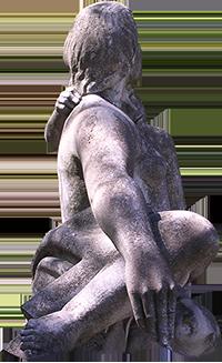 Estátua de mae e filho.