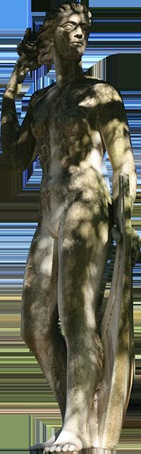 Estátua de mulher segurando no cabelo (Daniela).