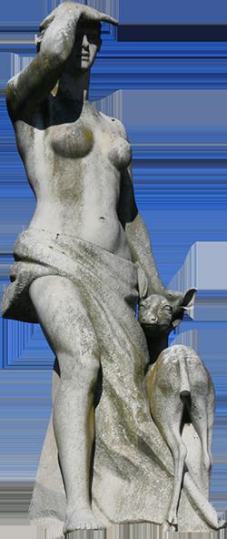 Estátua de mulher com veado (Estela).