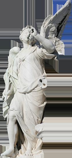 Estátua de mulher alada representando a Fama.