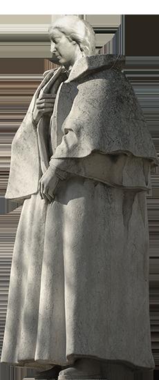 Estátua de mulher da Fonte Luminosa (Fernanda), vestida com o fato de Alexandre Herculano.