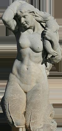 Estátua de sereia da fonte luminosa (Jacinta).