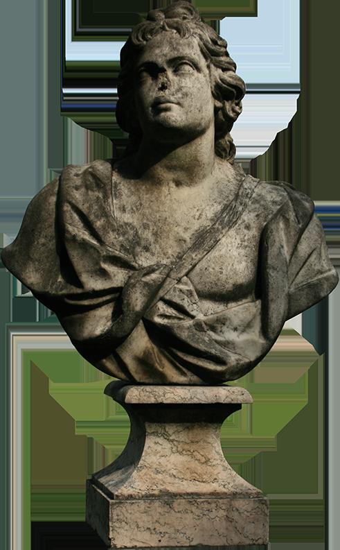 Busto de Joviano conversa com escultura de sereia no jardim do Museu da Cidade.