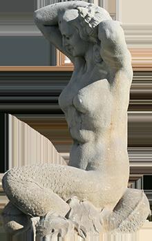 Estátua de sereia da fonte luminosa (Lucília).