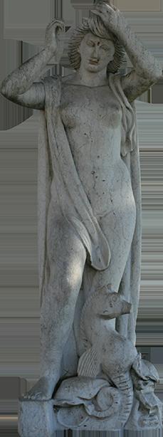 Estátua de mulher com cavalo marinho (Luisinha).