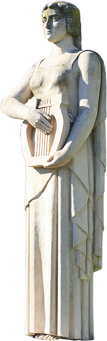 Estátua de mulher com lira, personificação da Música.