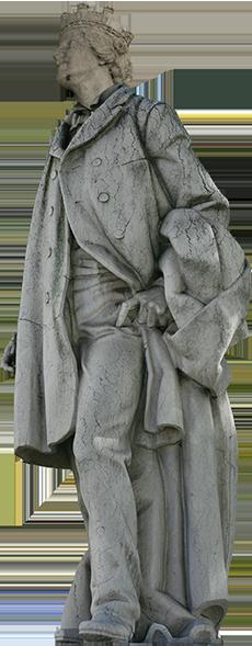 Estátua de mulher do monumento a Rosa Araujo (Rosa), vestida com o fato de Oliveira Martins, caminha para fora de cena.