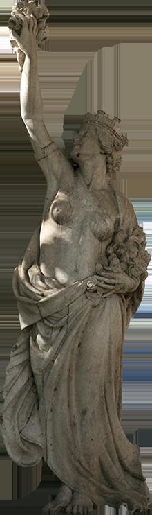Estátua de mulher com coroa e ramo de flores.